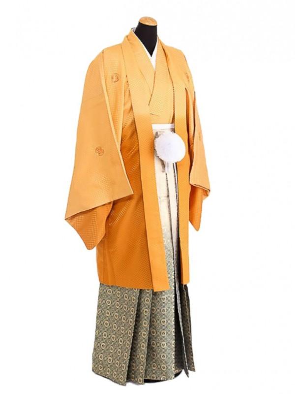 卒業式成人式袴男レンタル084*8/山吹色/緑ボカシ