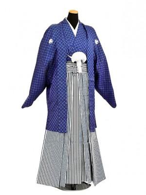 卒業式成人式袴男レンタル037*4青刺子/黒青銀縞