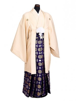 卒業式成人式袴男レンタル053*7/浅黄/紺亀甲紋