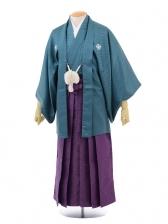 卒業式成人式袴レンタル164グリーン紋付×紫袴