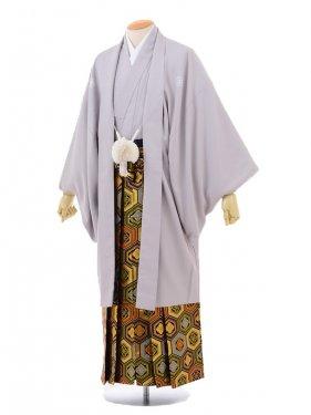 卒業式成人式袴レンタル148グレー紋付×ゴールド亀