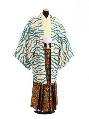 卒業式成人式袴レンタル202ブルー虎柄×ゴールド亀