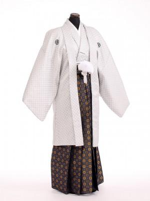 卒業式成人式袴男レンタル105*6/オフホワイト刺子/紺