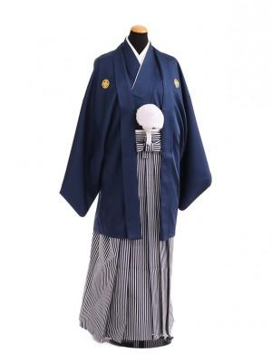 卒業式成人式袴レンタル211紺紋付×白紺仙台平