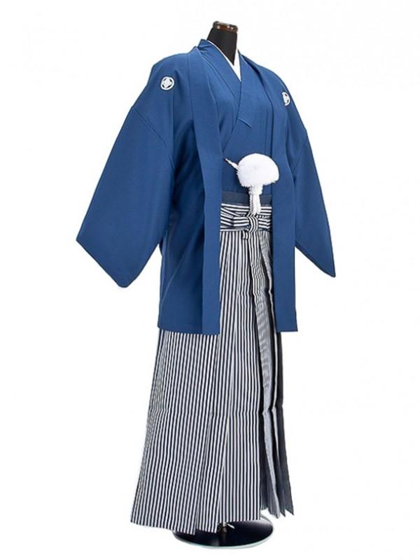 卒業式成人式袴男レンタル007*3/明紺紋付羽織袴