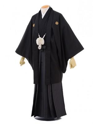 卒業式成人式袴レンタル174黒金刺繍龍馬×茶グレ