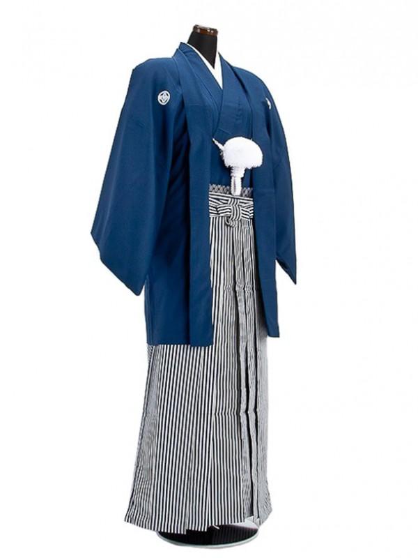 卒業式成人式袴男レンタル008*4/紺紋付羽織袴