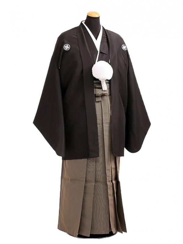 卒業式成人式袴男レンタル089*2黒紋付/黄海松茶