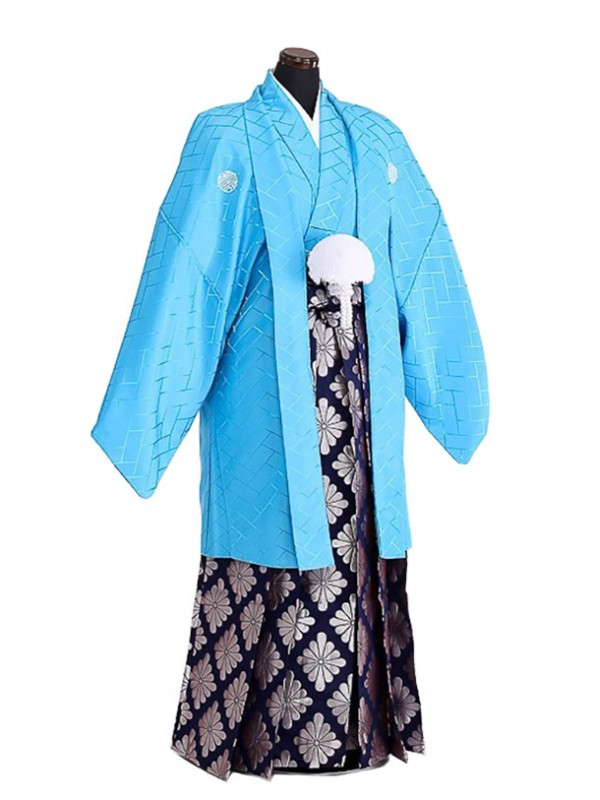 卒業式成人式袴男レンタル070*4/水色紋付/銀菊