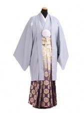 卒業式成人式袴レンタル179グレー紋付×紫金ぼか
