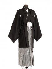 卒業式成人式袴男レンタル093*6/黒紋付/地味袴