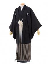 卒業式成人式袴レンタル157黒紋付×黒シルバーぼか