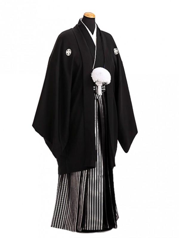 卒業式成人式袴レンタル137*4正絹黒紋付/黒銀縞