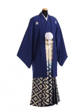 卒業式成人式袴レンタル180紺紋付×紺金ぼかし