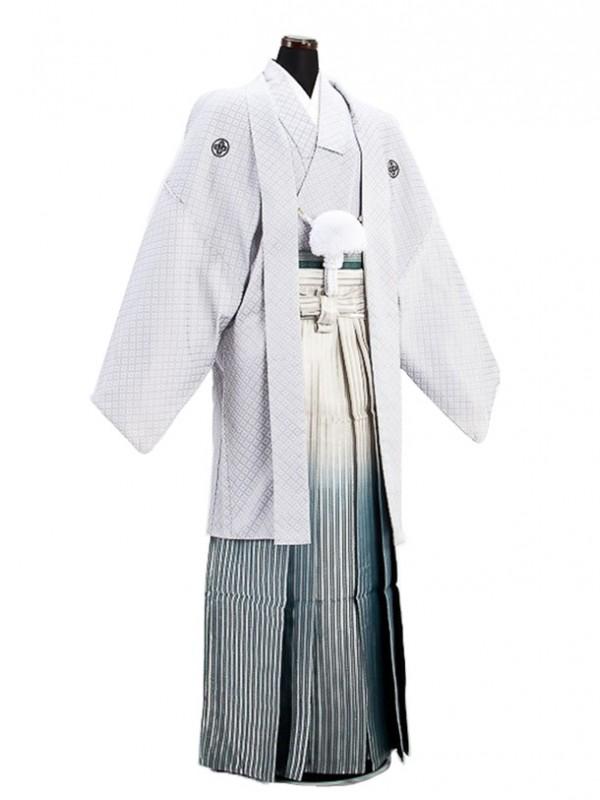 卒業式成人式袴男レンタル029*8グレー刺子/濃緑縞