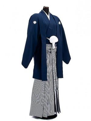 卒業式成人式袴男レンタル006*5/紺紋付羽織袴
