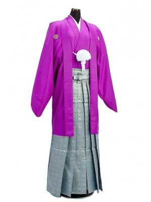 卒業式成人式袴男レンタル019*6/紫紋付/鳳凰紋