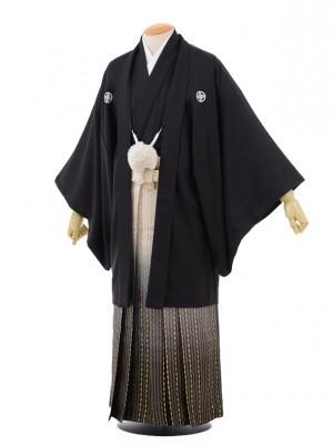 卒業式成人式袴レンタル154黒紋付×ゴールドダイヤ