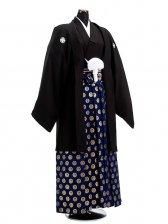 卒業式成人式袴男レンタル048*7/黒紋付/鶴丸紋