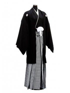 卒業式成人式袴男レンタル127*6/正絹黒紋付袴