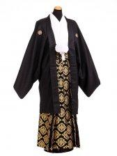 卒業式成人式袴男レンタル103*6/黒紋付絆/黒金
