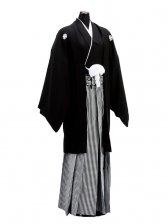 卒業式成人式袴男レンタル124*3/正絹黒紋付袴