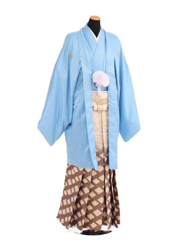 卒業式成人式袴レンタル190水色紋付鷹富士×金
