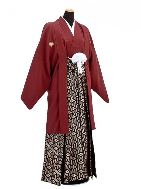 卒業式成人式袴男レンタル021*4/エンジ/金四ツ目菱
