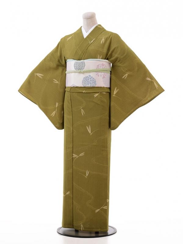 夏小紋レンタル118抹茶色 糸とんぼ(化繊 絽 夏)