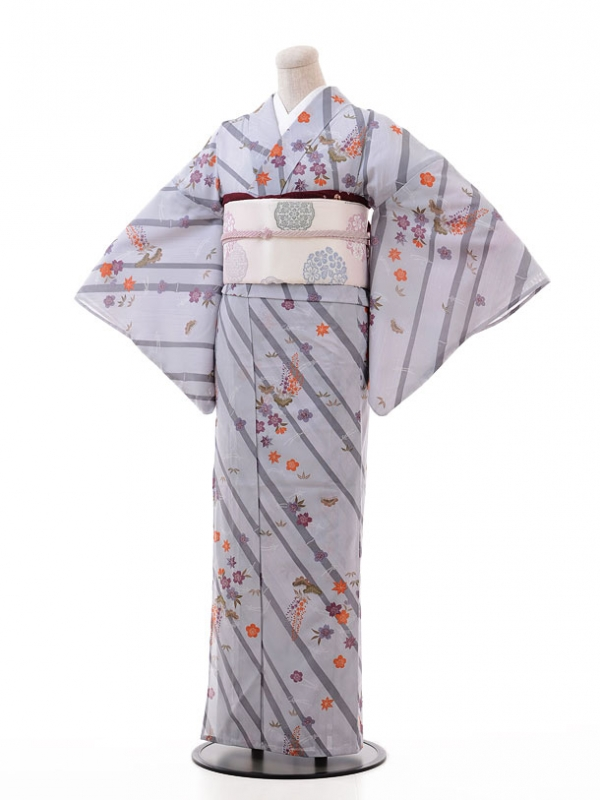 夏小紋レンタル119グレー地 竹に桜梅藤(化繊 絽