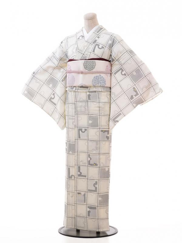 夏小紋レンタル116白地 変わり格子にホタル(化繊