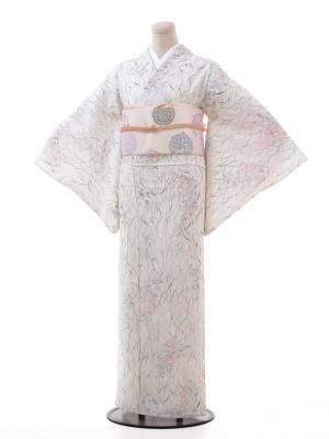夏小紋レンタル115白地 野花(化繊 絽 夏)