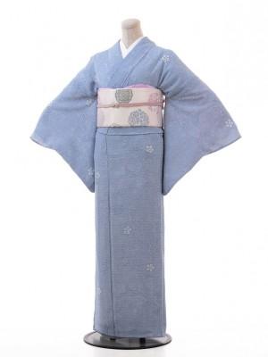 夏小紋レンタル117ブルーグレー地 枝花(化繊 絽 夏)