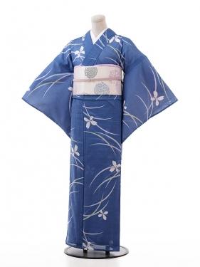 夏小紋レンタル121ブルーグレー地 小花(化繊 絽 夏)