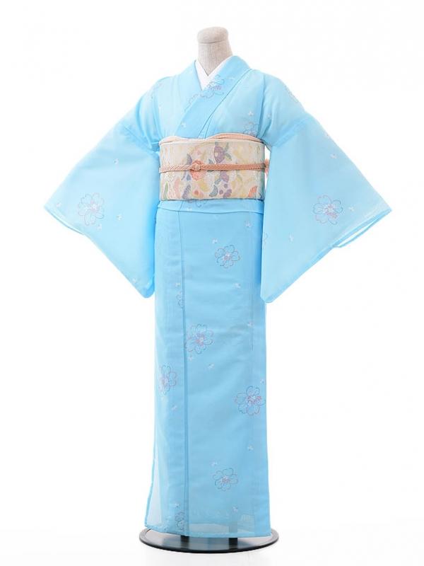 夏小紋レンタル120水色 小花(化繊 絽 夏)