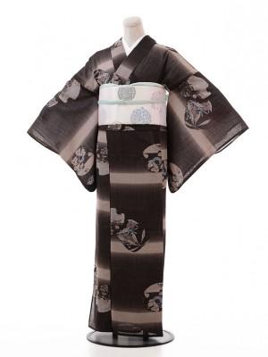 夏小紋レンタル113こげ茶ベージュ地 花(化繊 絽