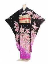 振袖 成人式 黒ピンク桜 0227