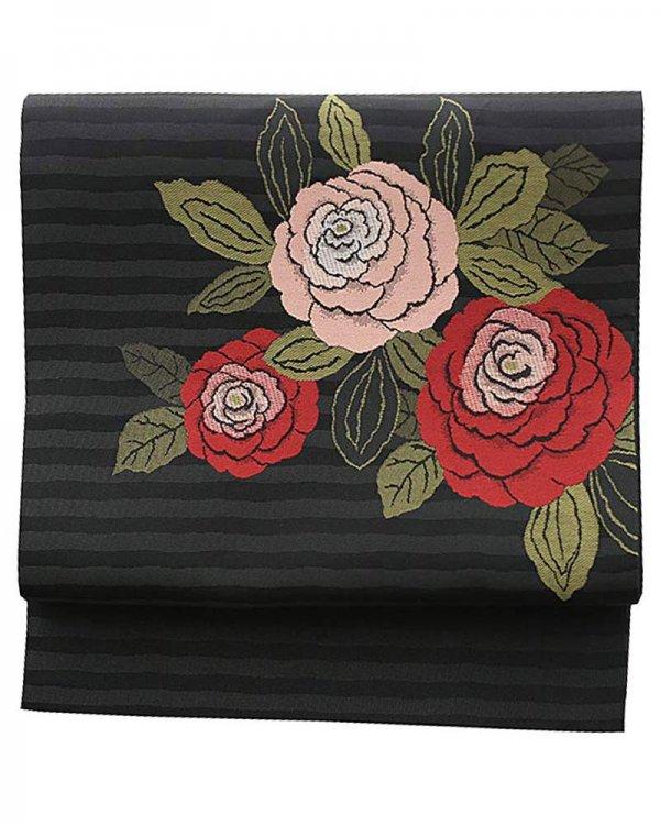 洒落着・小紋用袋帯0010 黒 バラ
