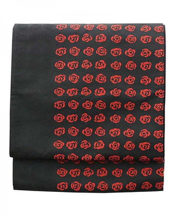 洒落着・小紋用袋帯0007 黒 バラ