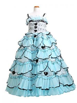 子供ドレス 7~9才 ブルー ノースリーブ B7439