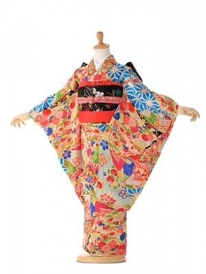 アンティーク(7歳女の子袋帯) 青麻の葉 7313
