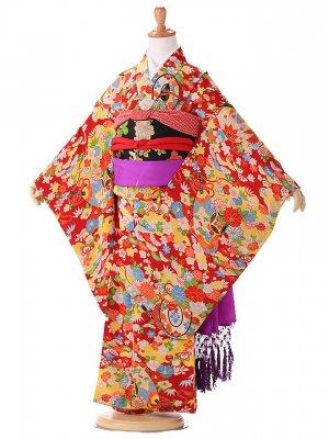 アンティーク(7歳女の子袋帯)赤 7338