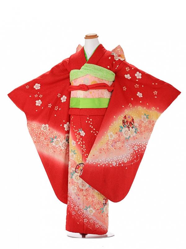 【正絹】7歳女の子 着物 赤 7121