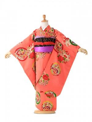 アンティーク(7歳女の子袋帯) ピンク 華紋 7312