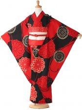 七五三 7歳 黒×赤 モダン 菊 7250