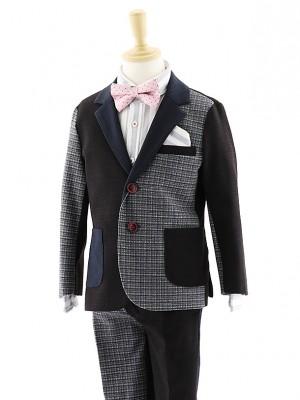 [男児スーツ]長ズボン 濃茶×グレーチェック 0063 120㎝