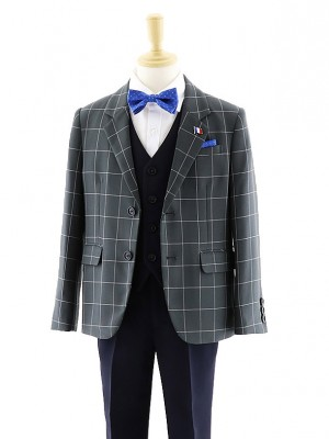 [男児スーツ]長ズボン チェック柄&ネイビー 3ピース 0054 100㎝~