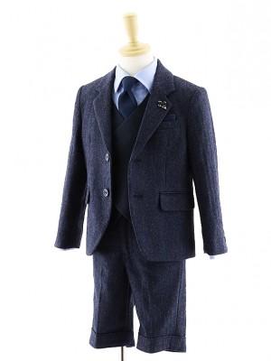 [男児スーツ]半ズボン/ダブルベスト付きツイードスーツ/0068/100㎝~