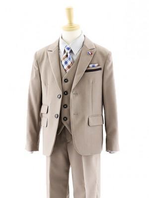 [男児スーツ]長ズボン ベージュ 3ピース 0055 100㎝~