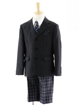[男児スーツ]半ズボン 3つボタンスーツ チェックパンツ 0061 100㎝~